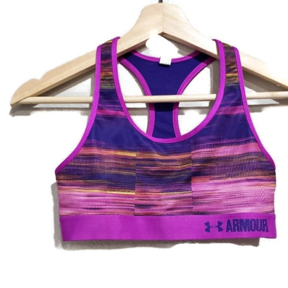 9d832c4f Under Armour Purple Striped Sports Bra